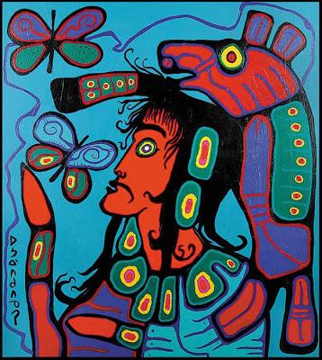 Bear shaman viewing butterfly . Norval Morrisseau